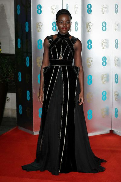Lupita Nyong'o attends the EE British Academy Film Awards (BAFTA) gala dinner held at Grosvenor House.