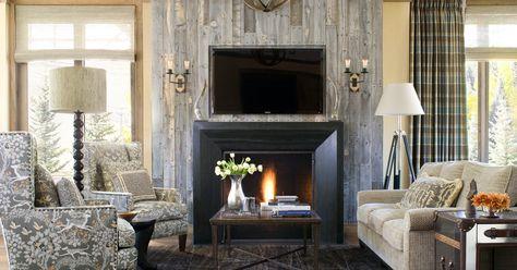 Interesting reclaimed wood fireplace mantel