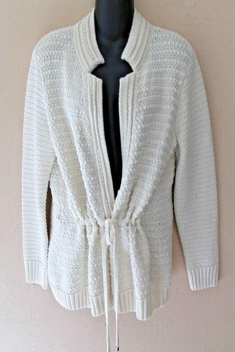 d82a78fb3b197 St. John Yellow Label Ivory Belted Cotton Heavy Knit Sweater sz L YJ01   StJohn  Cardigan