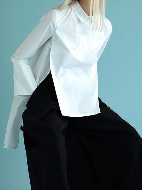 Original White High-low Split-back Blouse – uoozee