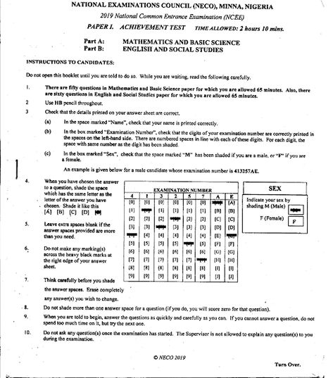 National Common Entrance Past Questions Answers 2011 2020 Past Questions This Or That Questions National Examination