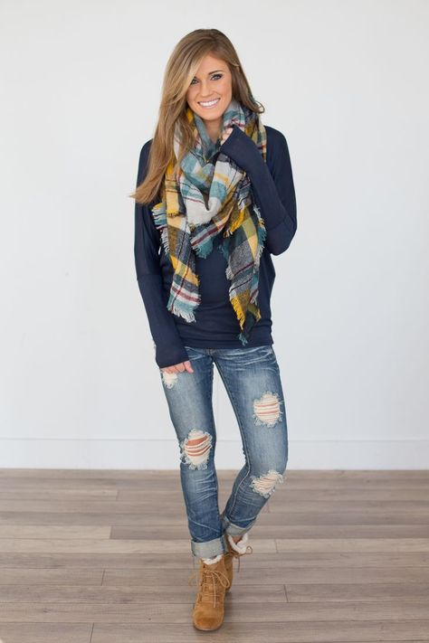 Dolman Sleeve Knit Top - Navy - Magnolia Boutique