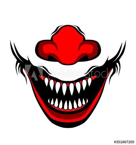 Evil Clown Creepy Clown Or Horror Clown Clown Horror Smiley Face Clown Mouth Joker Smile For Hallowen Illustration Clown Horror Creepy Clown Joker Smile