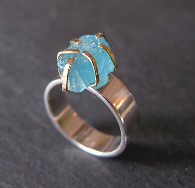 Unique Boho Wedding or Everyday Wear Jewelry Raw Gemstone Solitaire Engagement Ring w Turquoise Apatite Crystal in 925 Sterling Silver