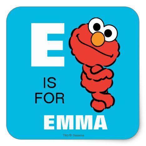 E Is For Elmo Add Your Name Square Sticker Zazzle Com