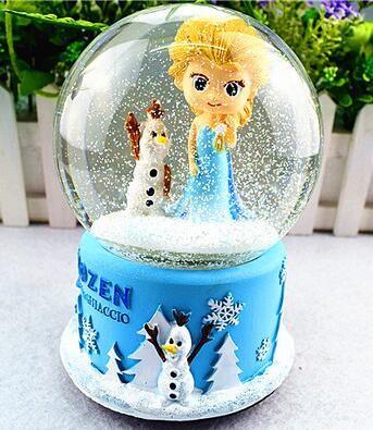 RONG-719 + Rotary sneeuw crystal ball muziekdoos muziekdoos creatieve gift om meisjes vriendin bestie verjaardagscadeau