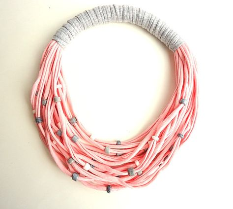Baby Pink T-shirt yarn necklace/ scarf by CreationsByAlina on Etsy