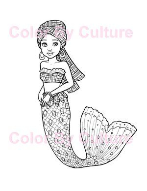African Mermaid Coloring Page Color By Culture Mermaid Coloring Pages Mermaid Coloring Coloring Pages