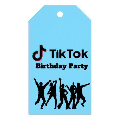 Tik Tok Blue Red Birthday Party Thank You Gift Tags Birthday Gift Tags Red Birthday Party Gift Tags