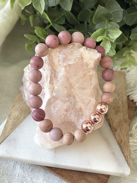 Pink Rhodonite and rose gold gemstone bracelet, rosewood essential oil diffuser bracelet Bullet Jewelry, Geek Jewelry, Bead Jewellery, Yoga Jewelry, Gothic Jewelry, Beaded Jewelry, Jewelry Necklaces, Gemstone Bracelets, Handmade Bracelets