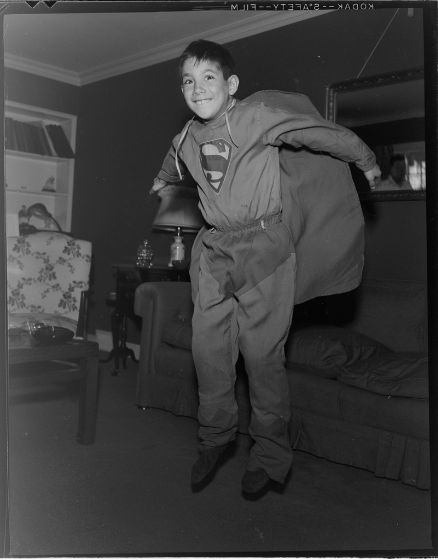Lucian and Mary Brown, Untitled (boy wearing Superman costume, jumping), c. 1950, Harvard Art Museums/Fogg Museum.