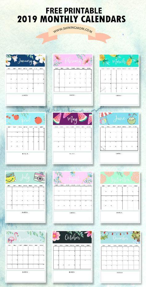 Calendar 2019 Printable Free 12 Monthly Calendars To Love