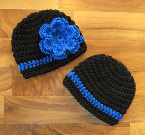 58a54169a34 Crocheted Baby Twin Boy Girl Hat Set ~ Black   Royal Blue ~ Thin Blue Line  ~ Baby Shower Gift ~ Phot