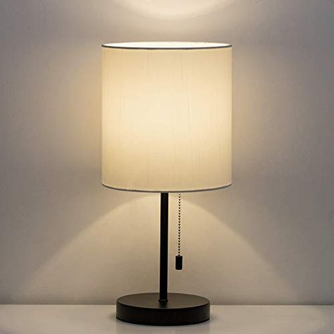 HAITRAL Table Lamp Modern Bedside Desk Lamp with Pull C