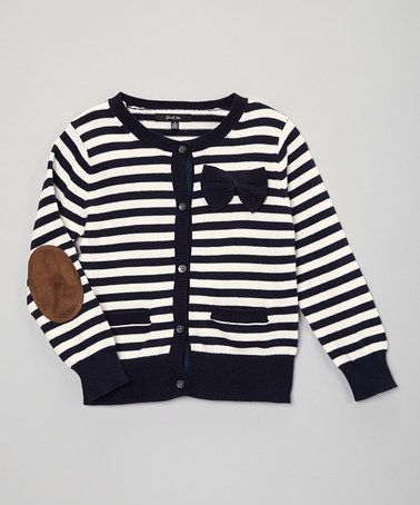 Another great find on #zulily! Navy Stripe Elbow Patch Cardigan - Toddler & Girls by GIL & JAS #zulilyfinds