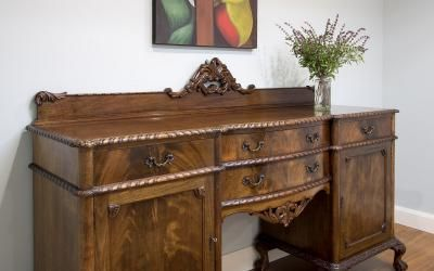 Excellent Circa 1910 Solid Walnut Carved Chippendale Style Sideboard Home Interior And Landscaping Oversignezvosmurscom