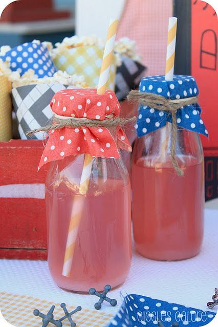 put cute paper napkins over glass bottles, tie with ribbon or baker's twine, and stick a straw right through!