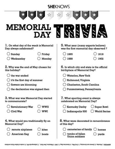 image about Memorial Day Printable Activities named Memorial Working day trivia - Absolutely free Printable Memorial working day