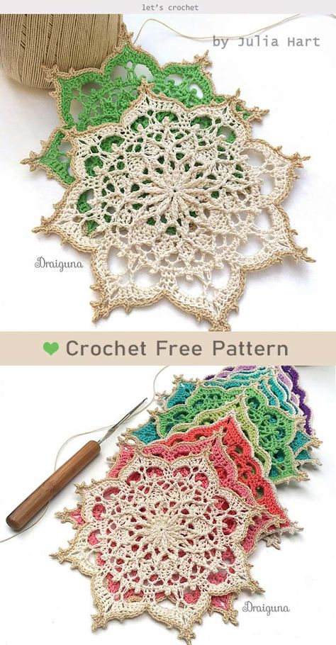 crochet doilies Wispweave Octagon Free Crochet Pattern is to make unique doilies to decorate home. These beautiful doilies are great for Tea party, wedding, and much more. Motif Mandala Crochet, Crochet Snowflake Pattern, Crochet Motifs, Crochet Snowflakes, Crochet Squares, Thread Crochet, Crochet Doilies, Crochet Crafts, Crochet Flowers