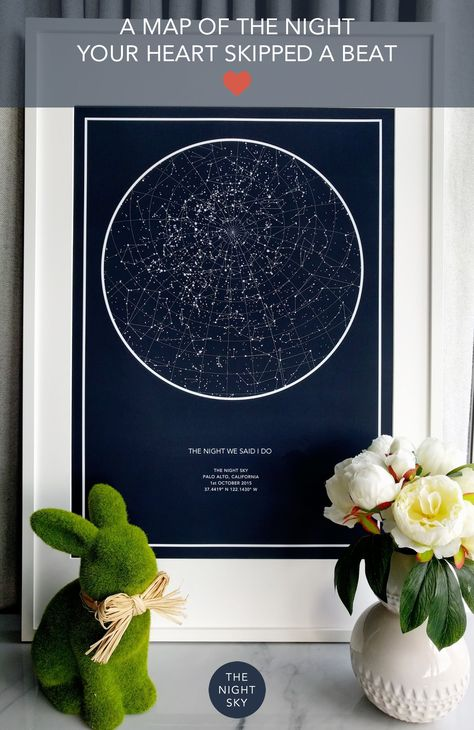 """Was it your first kiss, the birth of a child or that moment you realized your world had changed forever. Give a gift of the stars to always remember that special night.  Create an 18"""" x 24"""" star map of the night your heart skipped a beat. Printed on the finest Matte Art paper using archival ink. This piece of wall art will be treasured for many years to come."""