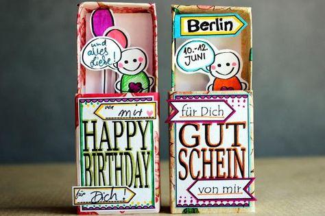 Geschenk- oder Gutschein-Schachteln zum Selbermachen auf for me