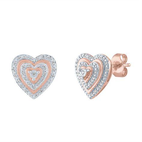 1/10 CT. T.W. Genuines Diamond 14K Rose Gold Over Silver 11.9mm Heart Stud Earrings