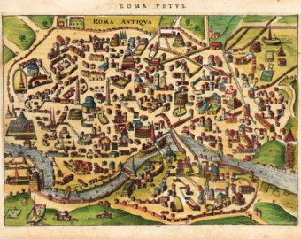 Parchment Print 8x105 Rome City View from 1627 Vintage map