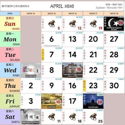 Ramadan 2020 Calendario.Kalendar 2020 Cuti Umum Dan Cuti Sekolah Malaysia Kalender 2020