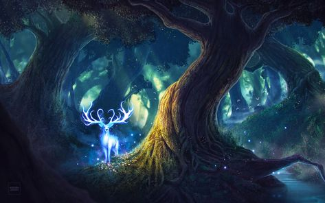 Download wallpapers 4k, deer, night, magic forest, art besthqwallpapers.com