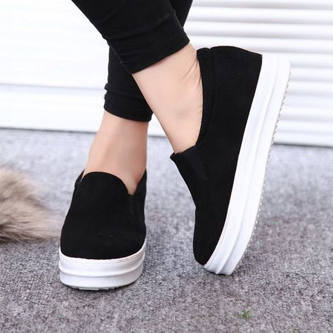71b19187a418 Hidden Wedge Lady New Sneaker Platform Flat Sport Creeper Shoes Trainer  Slip On  Unbranded
