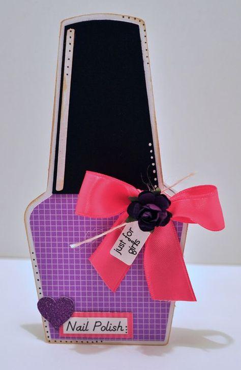 NAIL POLISH SHAPED CARD - cute to make as a holder for a nail polish gift for a teacher