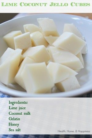 Phase (use stevia) Coconut-Lime Finger Jello (real food, dairy free, GAPS free, food dye free) Gaps Diet Recipes, Real Food Recipes, Snack Recipes, Cooking Recipes, Coconut Jello, Coconut Recipes, Coconut Milk, Paleo Jello, Healthy Sweets
