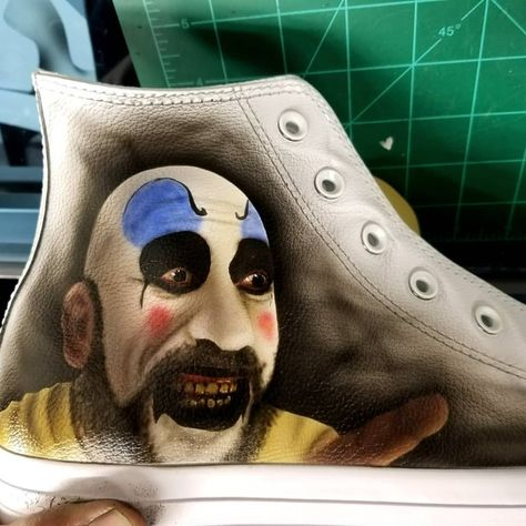 Captain Spaulding by liquid kicks! #robzombie #houseof1000corpses #airbrush #badgerairbrush #converse #custom #sneakers #shoes #oneofakind #follow4follow
