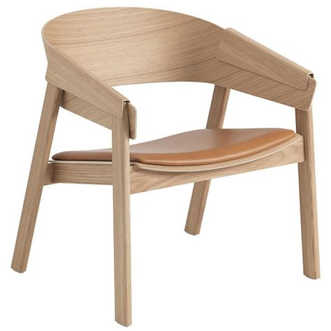 Muuto Cover Lounge Chair Oak Cognac Leather Sessel Holz Eichenstuhle Stuhl Polstern