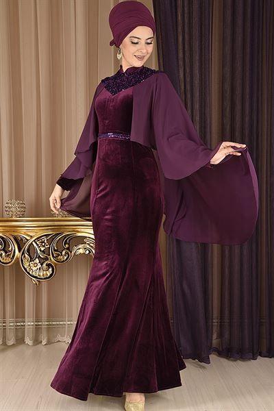 Modamerve Pelerinli Balik Model Kadife Abiye Elbise Mor Rzg 6110 Kusakli Elbise Moda Stilleri Cicekli Elbise