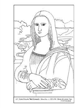 Mona Lisa Coloring  Art  Mona Lisa Black  White  Pinterest
