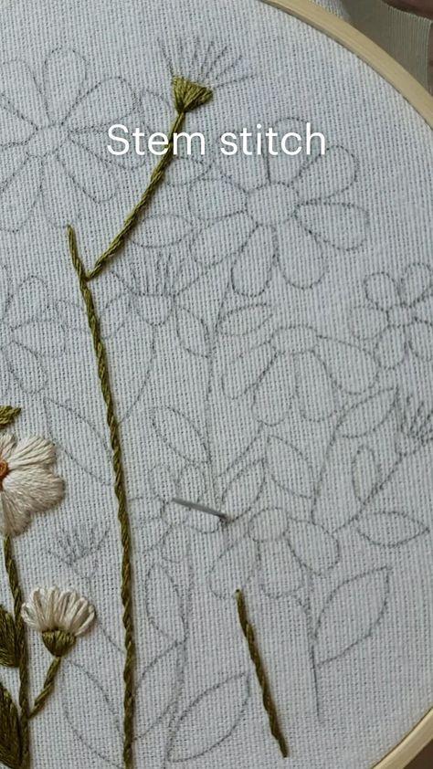 Stem stitch Hand embroidery