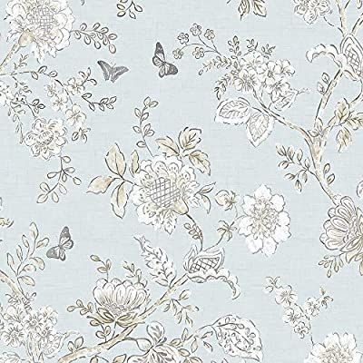 Norwall Fh37537 Butterfly Toile Prepasted Wallpaper Blue Beige French Blue Light Blue Amazon Com Toile Wallpaper Farmhouse Wallpaper Floral Wallpaper