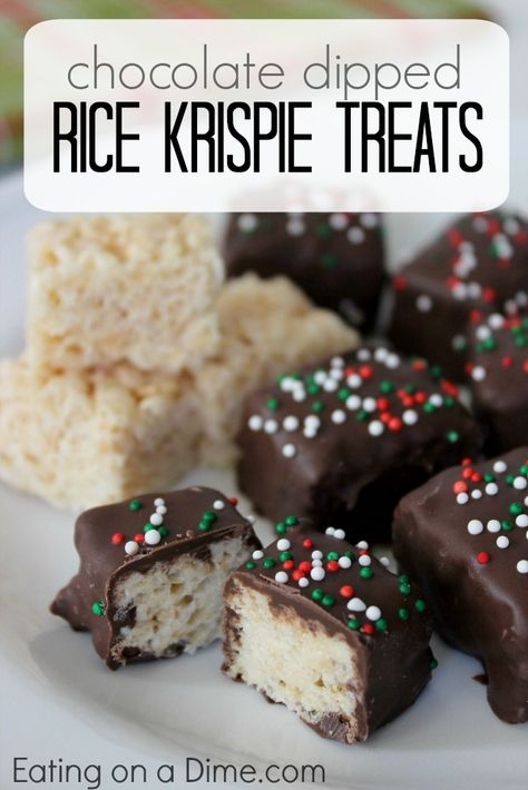 Chocolate Covered Rice Krispie Treats recipe are easy to make, even the kids can help. They are fun for the holidays - from Christmas cookie swaps, to fun treats for the kids at school. - Eating on a Dime