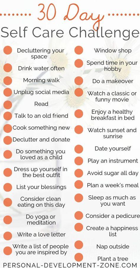 #30TageSelfCareChallengeIdeen 30-Day Self-Care Challenge Ideas        Selbstpflege kann Ihr Leben wirklich zum Guten verändern! Und Sie brauchen nicht mehr als 10 Minuten am Tag ... Entdecken Sie diese Liste mit 30 Ideen für Self-Care-Herausforderungen ... Persönlichkeitsentwicklung   Selbstpflege   Selbstvertrauen Selbstachtung   Selbstverbesserung #persönliche Entwicklung #Selbstverbesserung