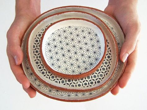 Three Tapas Plates - Ceramic Plate Set- Geometric Plates - Pottery Plates /