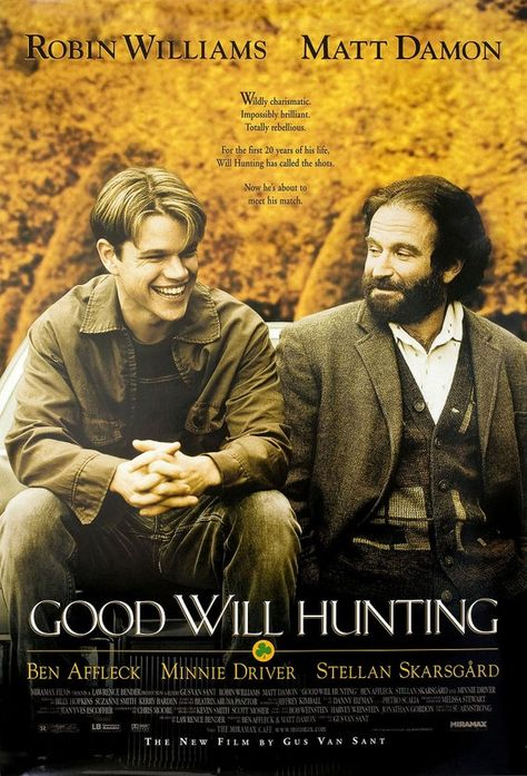 An original, rolled, one-sheet movie poster x from 1997 for Good Will Hunting with Robin Williams, Matt Damon and Ben Affleck. Minnie Driver, Iconic Movie Posters, Iconic Movies, Film Posters, Classic Movies, Matt Damon, Ben Affleck, 90s Movies, Great Movies
