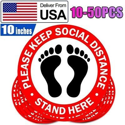10 50 Pack Social Distancing Floor Decal Sticker 10 Non Slip Safety Social Sign In 2020 Floor Decal Business Signs Sticker Sign