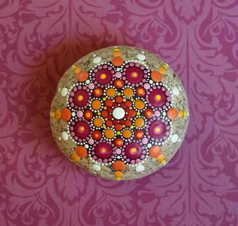 Jewel Drop Mandala Painted Stone- Plum and Tangerine