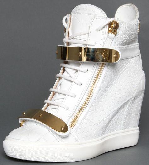 8ea11cad8bd Wedge sneakers. Giuseppe Zanotti s White Wedge Sneakers - Highonshoes.com