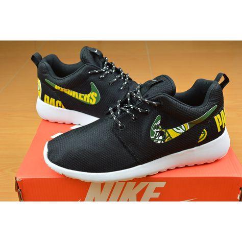 New Release Nike Roshe Run Green Bay Packers Shoes   Green