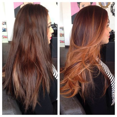 Copper Balayage Ombré. #beforeandafter #copper #balayage #ombre