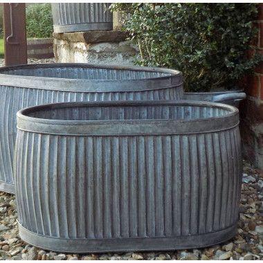 Medium Vintage Style Galvanised Oval Dolly Planter Tub Garden