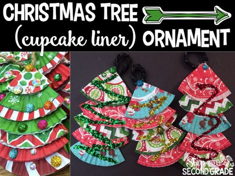 Christmas Tree ornaments with cupcake liners