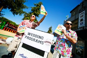 Recruit some ushers to hand out your game day programs just like at any other sporting event.  #footballwedding #stwdotcom